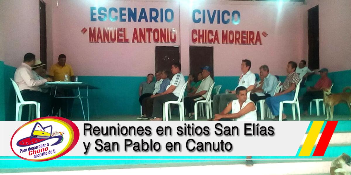 Reuniones en sitios San Elías y San Pablo en Canuto