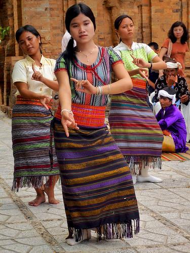 Cham girls in traditional dress dancing in Vietnam