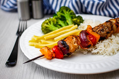 Chicken Kebabs with Vegetables  and Rice
