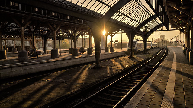 sunrise at the railway station