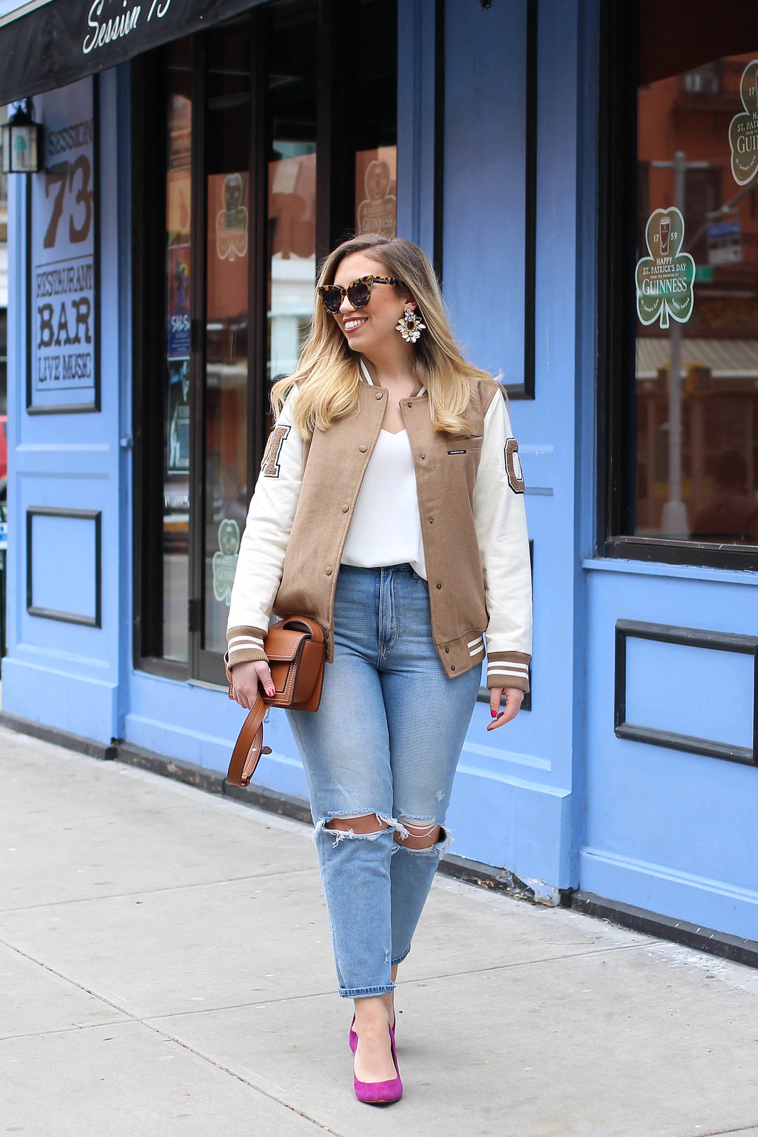 Tan Varsity Jacket High Waist Mom Jeans Pink Suede Heels Spring Outfit Jackie Giardina NYC Blogger Fashion Style