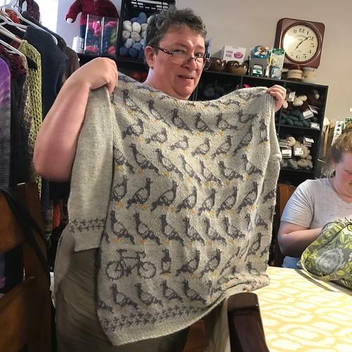 Sandi's finished Birds and Bikes test knit using Drops Alpaca!