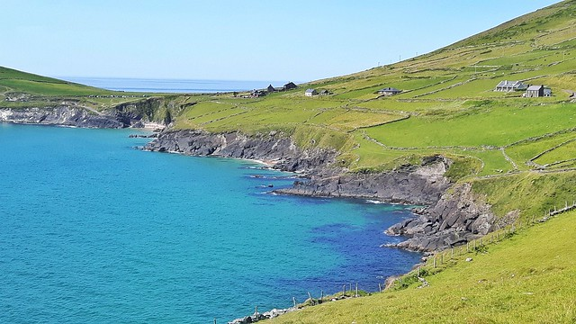 Coumeenoole Beach and Dunmore Head on Dingle Peninsula in Ireland.