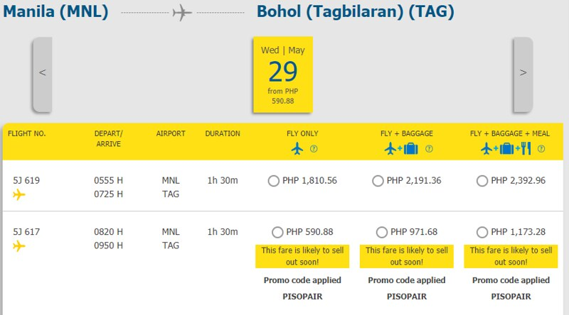 Cebu Pacific Piso Pair Manila to Tagbilaran