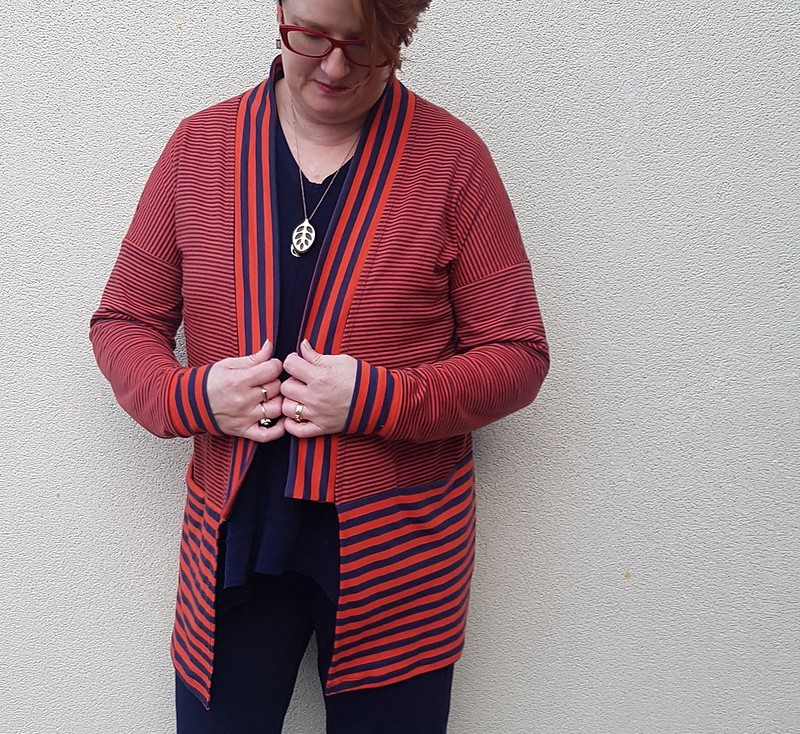 Style Arc Coral Cardigan in striped knit from Clear It