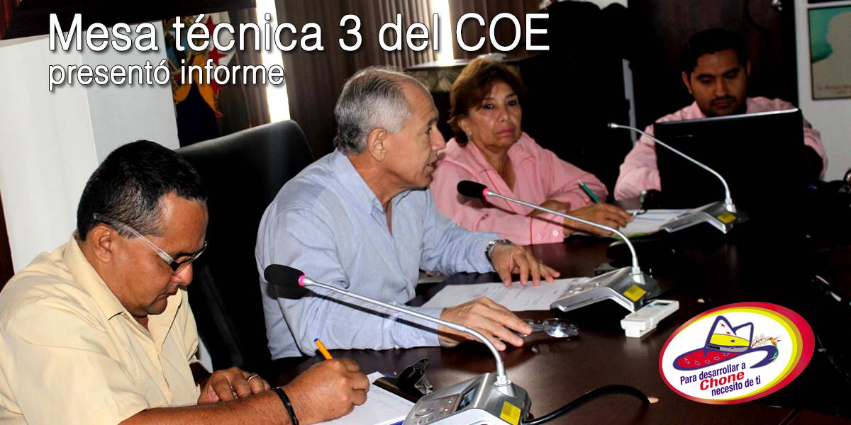 Mesa técnica 3 del COE presentó informe
