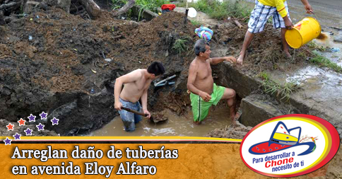 Arreglan daño de tuberías en avenida Eloy Alfaro