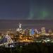 Northern Lights appear faintly over Edmonton