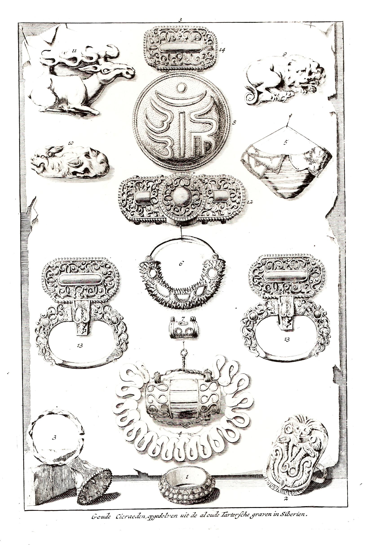 Золотые украшения, вырытые из древних Тартарских могил в Сибири
