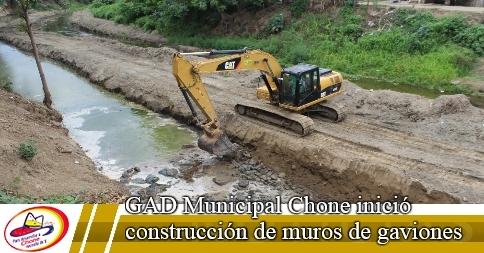GAD Municipal Chone inició construcción de muros de gaviones