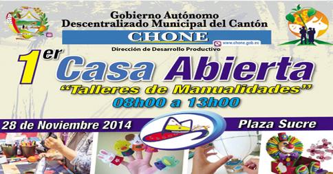 Se realizará Casa Abierta Artesanal en la Plaza Sucre de Chone
