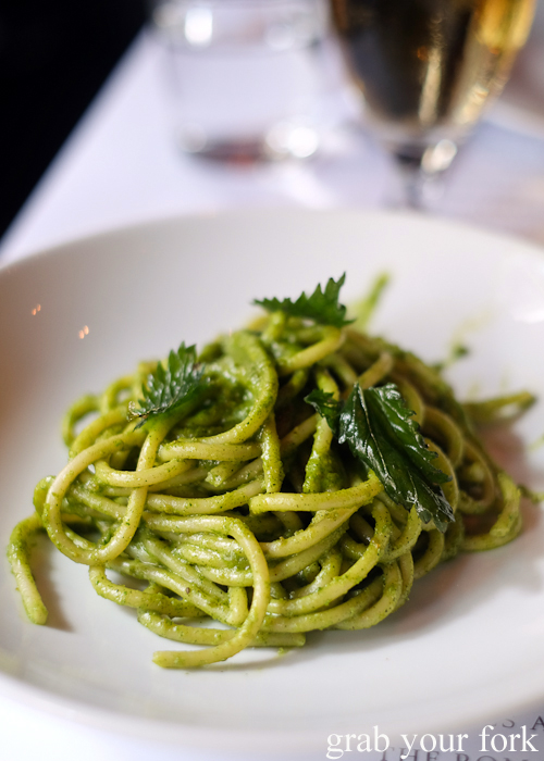 Spaghettoni with stinging nettle puree at La Rosa The Strand in Sydney