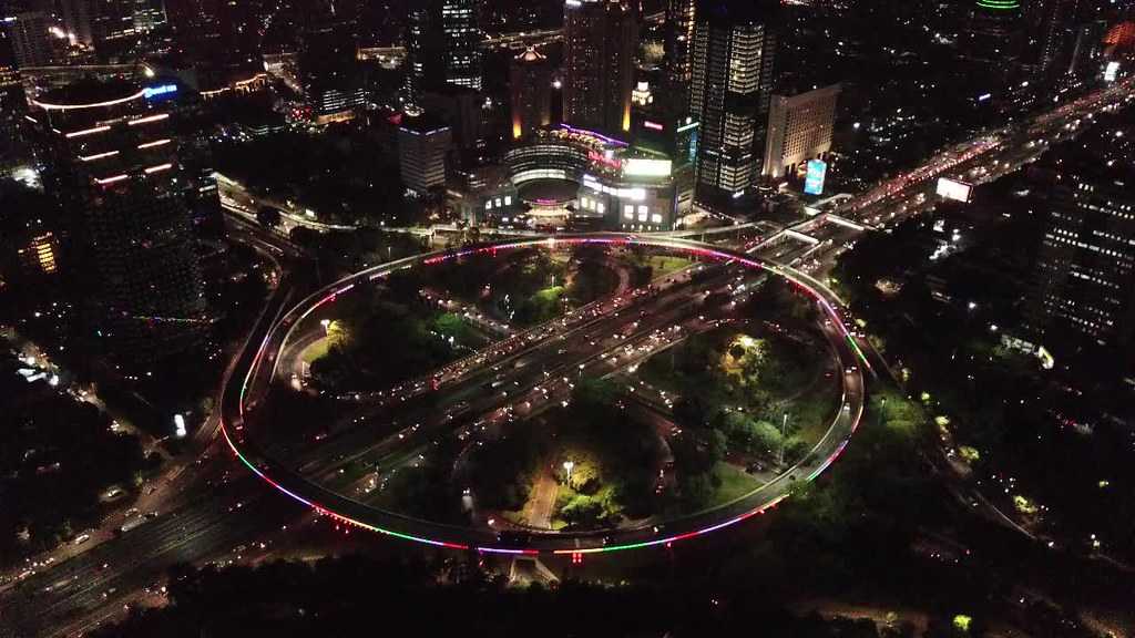 Simpang Susun Semanggi at Night, Jakarta