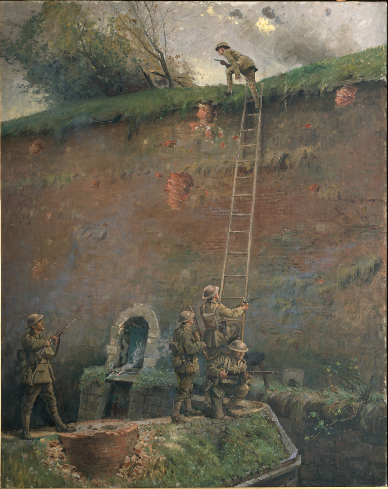 A painting depicting the scaling of the walls of Le Quesnoy by Second Lieutenant Averill, executed in 1920 by George Edmund Butler, who was an official artist of the New Zealand Expeditionary Force.