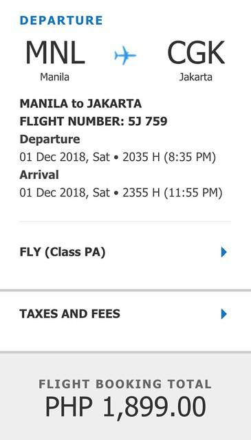 Cebu Pacific Promo Manila to Jakarta December 1, 2018