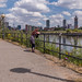 Admiring the view towards Manchester city centre, over the Ship Canal / River Irwell