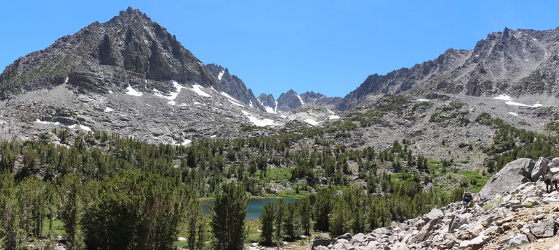 We head cross-country for Seventh Lake, with Two Eagle Peak on the left
