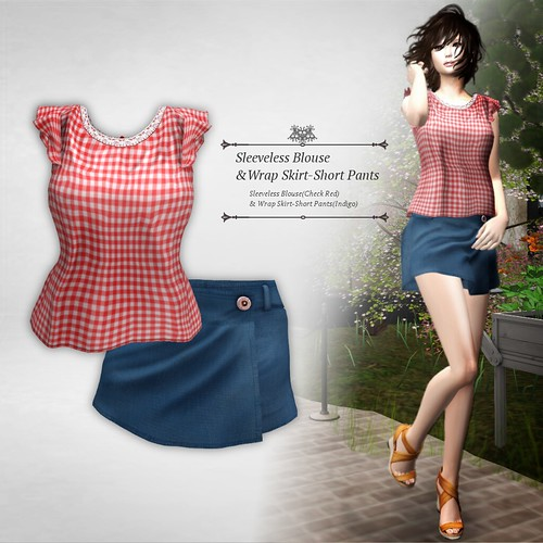 Sleeveless Brouse&Wrap Skirt-Short Pants (Group Gift)