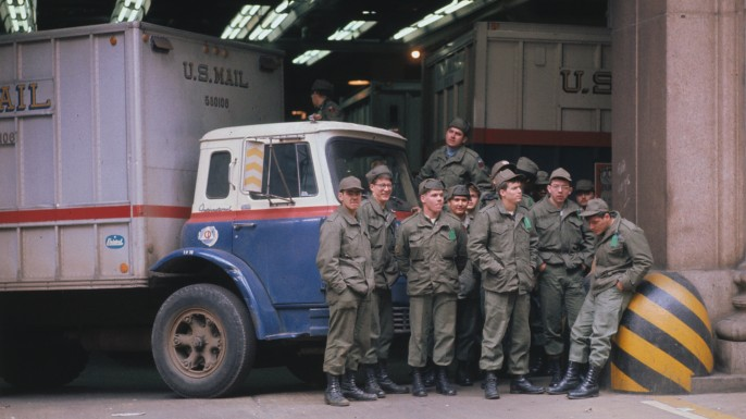 U.S. Army soldiers sorted and delivered the mail during the 1970 postal strike.