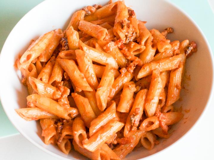 Pasta met mascarpone en spek