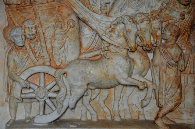 Detail of the relief with scene of Trajan's posthumous Parthian triumph in 118 AD, from Praeneste, Palestrina, Museo Archeologico