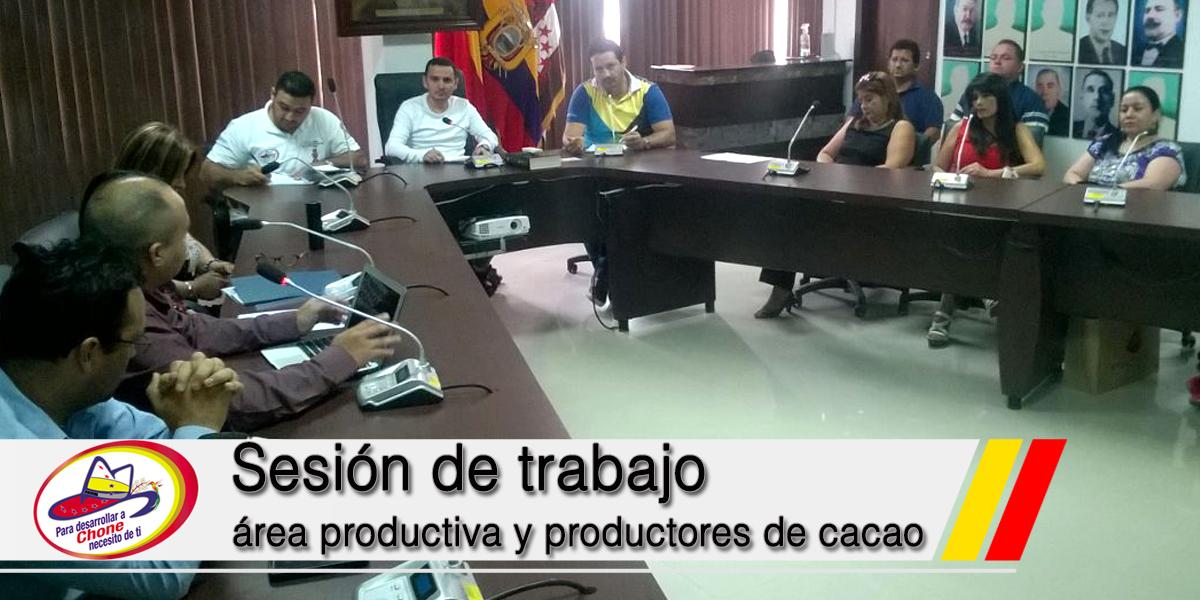Sesión de trabajo área productiva y productores de cacao