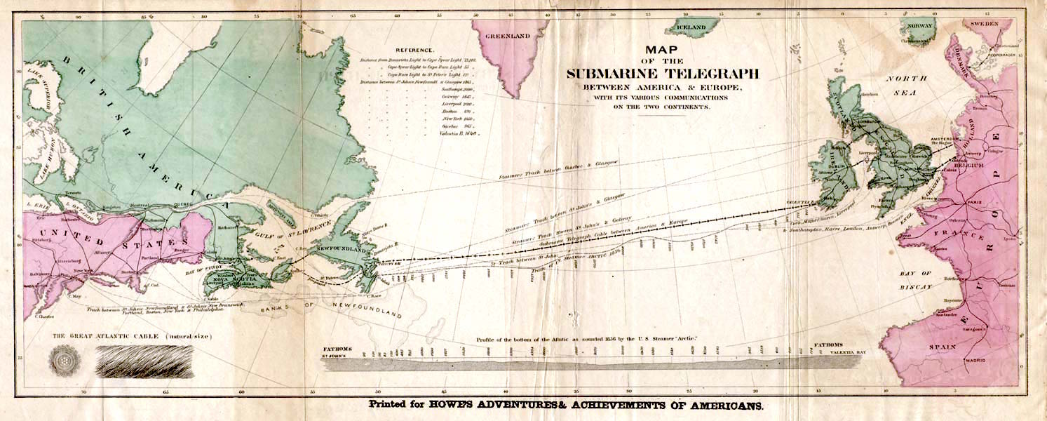 Map of the 1858 trans-Atlantic cable route. from Howe's Adventures & Achievements of Americans, 1858.