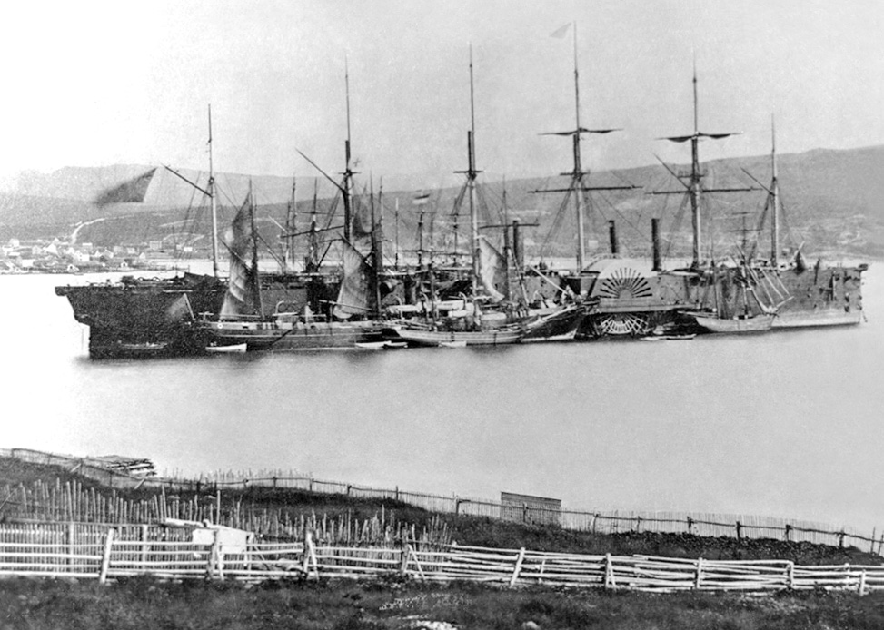 Great Eastern at Hearts Content, Newfoundland, July 1866. Photo most likely taken by Robert Edward Holloway (d. 1904) according to source.