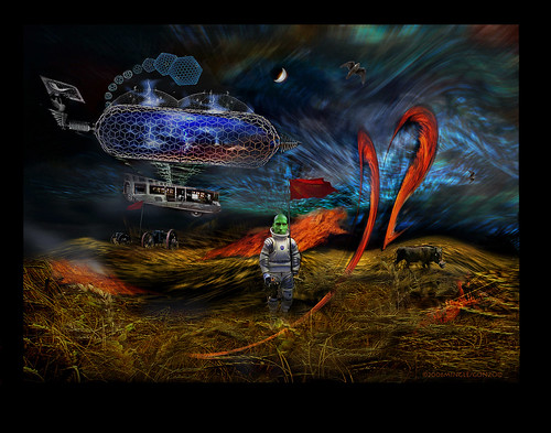 "-the arrival- (Airships arrive from Germany) from ""the Wheatfields"" 2006 by Stephen R Mingle /Gonzo®"
