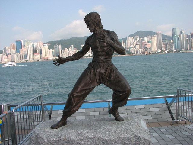 Bruce Lee Statue on the Hong Kong Avenue of Stars in Hong Kong