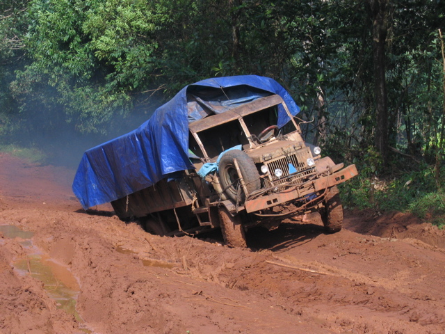 old soviet military vehicle, stuck in the mud in Ratanakiri, Cambodia
