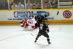 Pavel Datsyuk, Joe Thornton and Christian Ehrhoff