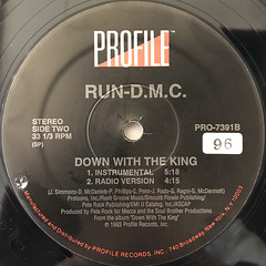 RUN DMC:DOWN WITH THE KING(LABEL SIDE-B)