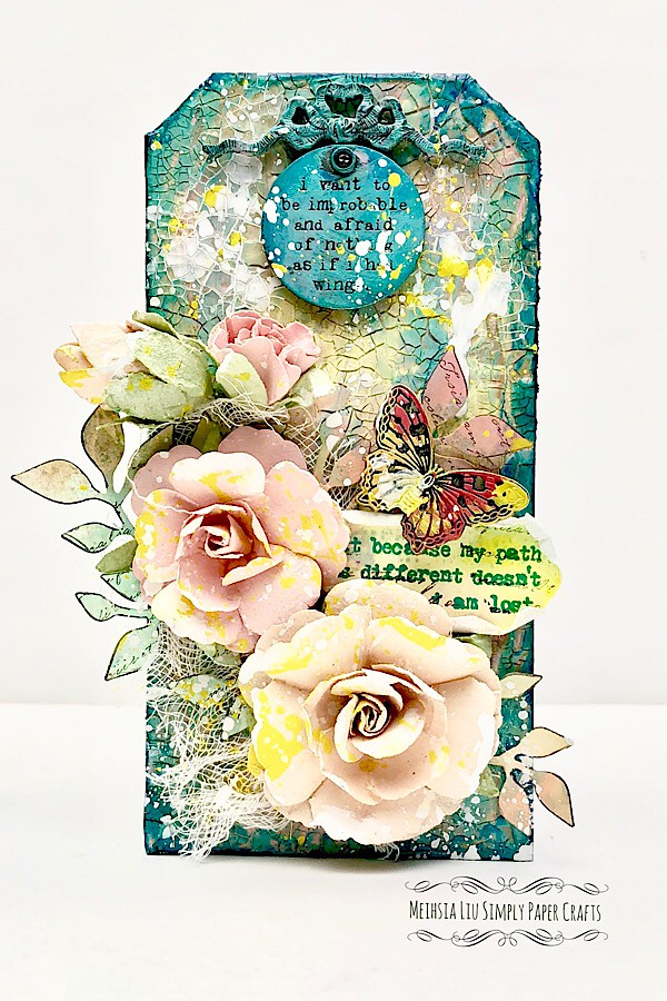 Meihsia Liu Simply Paper Crafts Mixed Media Tag Flower Power Simon Says Stamp Tim Holtz Prima Flowers