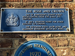 Photo of Leigh Hunt, The Rose and Crown, Wimbledon, and Algernon Charles Swinburne blue plaque