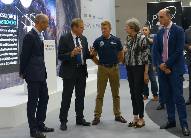 UK Prime Minister Theresa May visits the Space Zone at Farnborough Airshow 2018