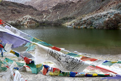 Prayer flags at the shore of Yerep Tso (Nubra Valley)