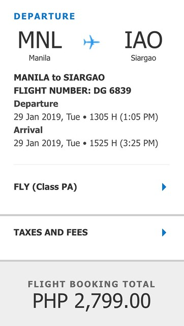 Cebu Pacific Manila to Siargao Promo January 29, 2019