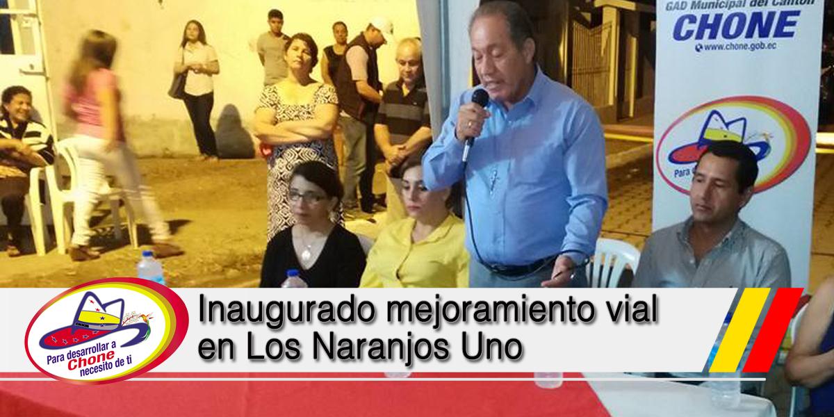 Inaugurado mejoramiento vial en Los Naranjos Uno