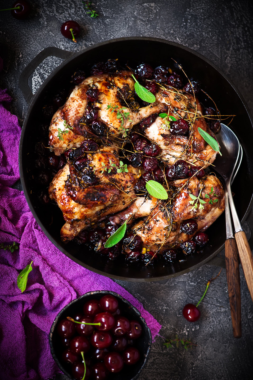 Rosemary Cherry Balsamic Roasted Chicken