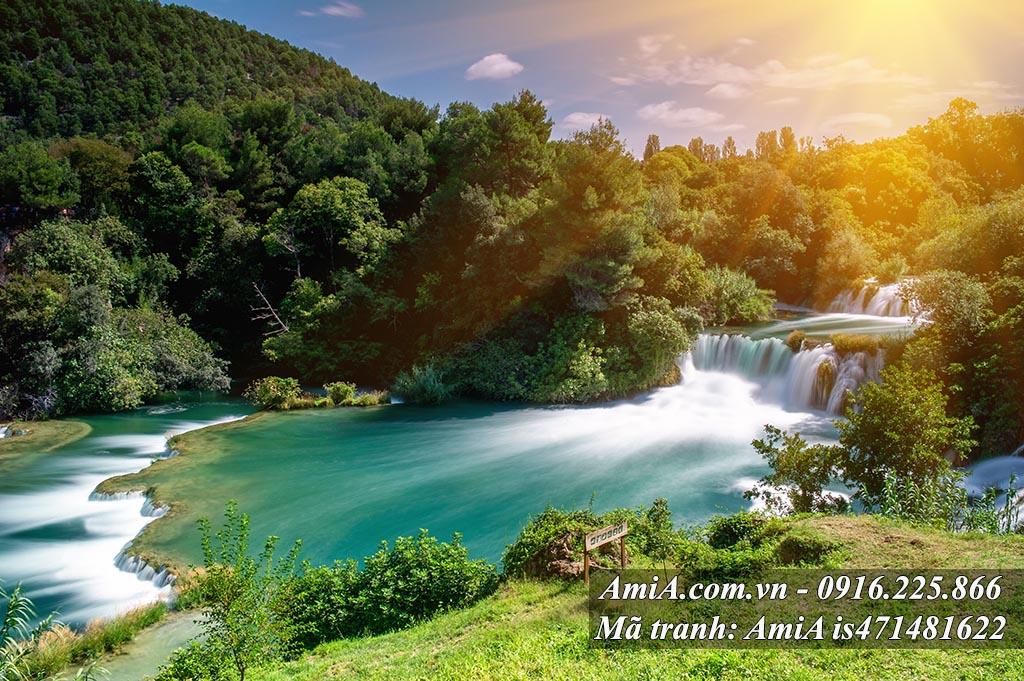 Tranh treo tường hiện đại phong cảnh đẹp thiên nhiên thác nước