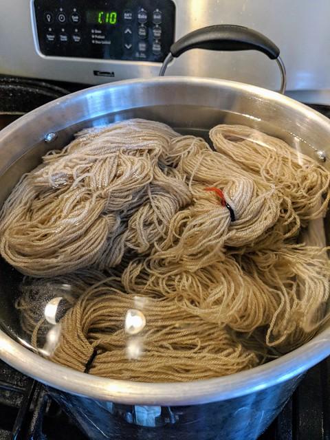 Alum mordant for irieknit's handspun Romeldale/CVM wool