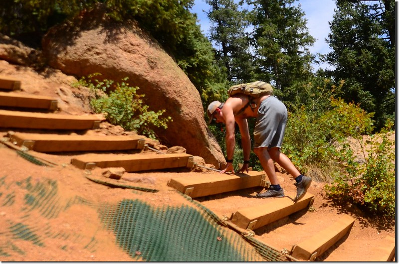 Hikers climbing up the Manitou Incline in Manitou Springs (2)