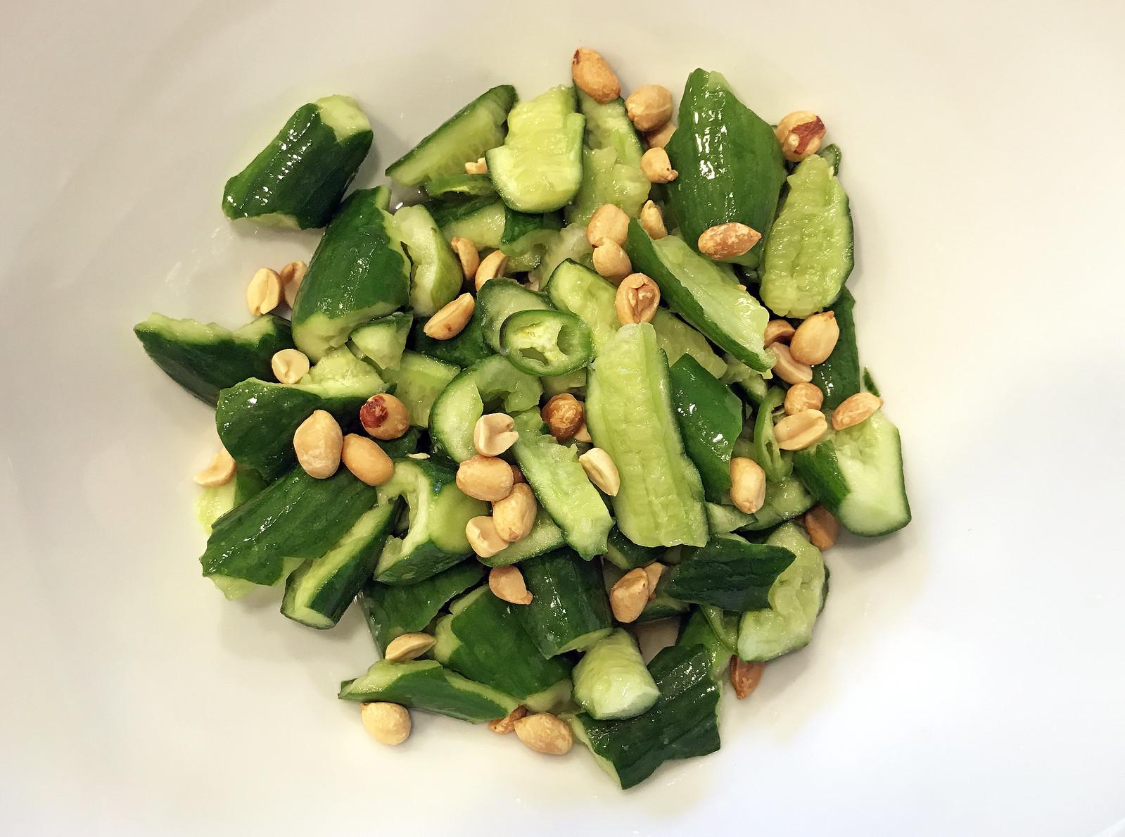 Smashed cucumber salad with hot vinegar