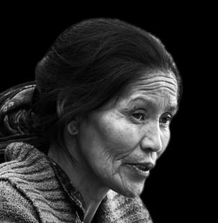 Ladakh woman b&w