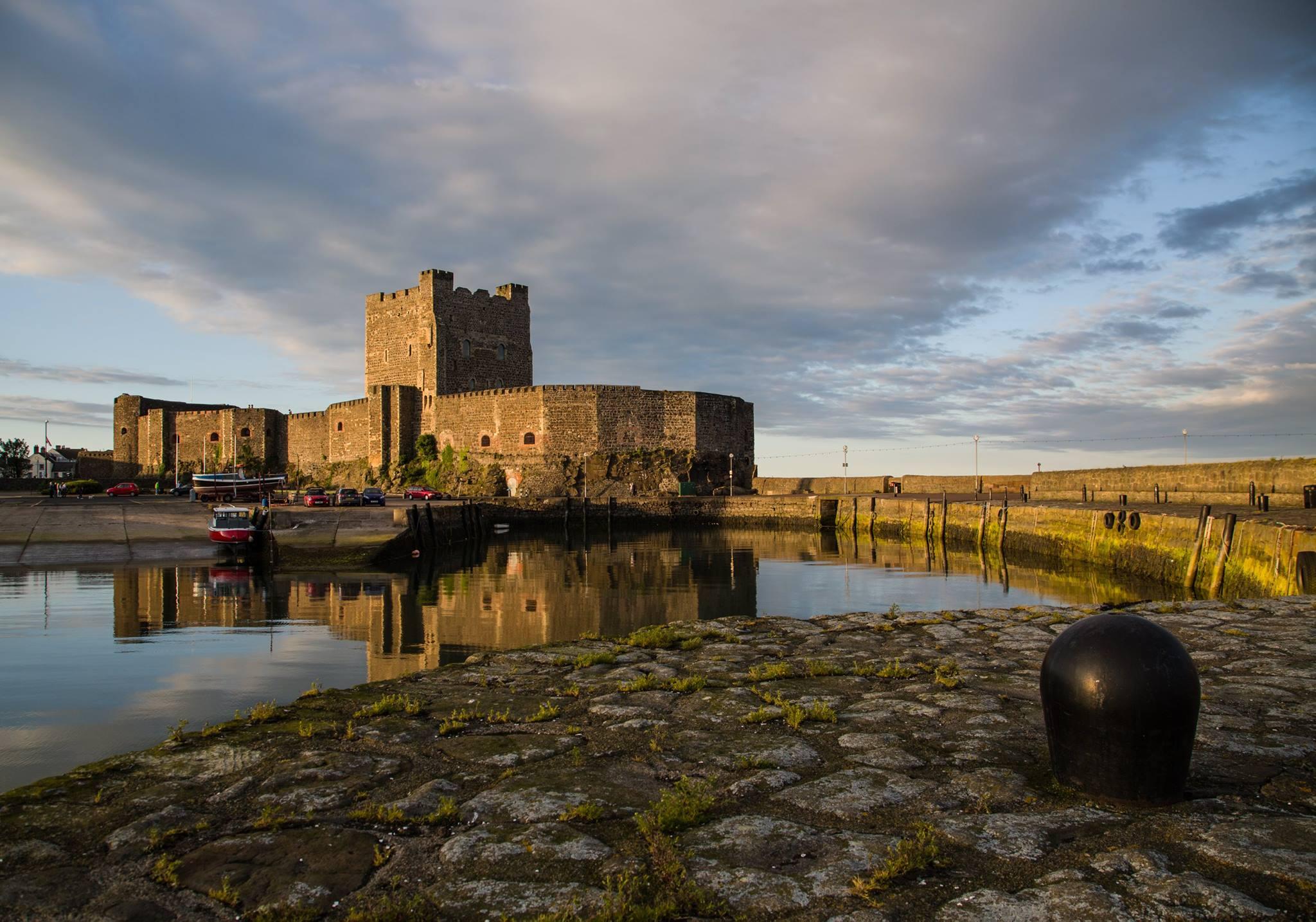 Carrickfergus Castle seen across the harbor.