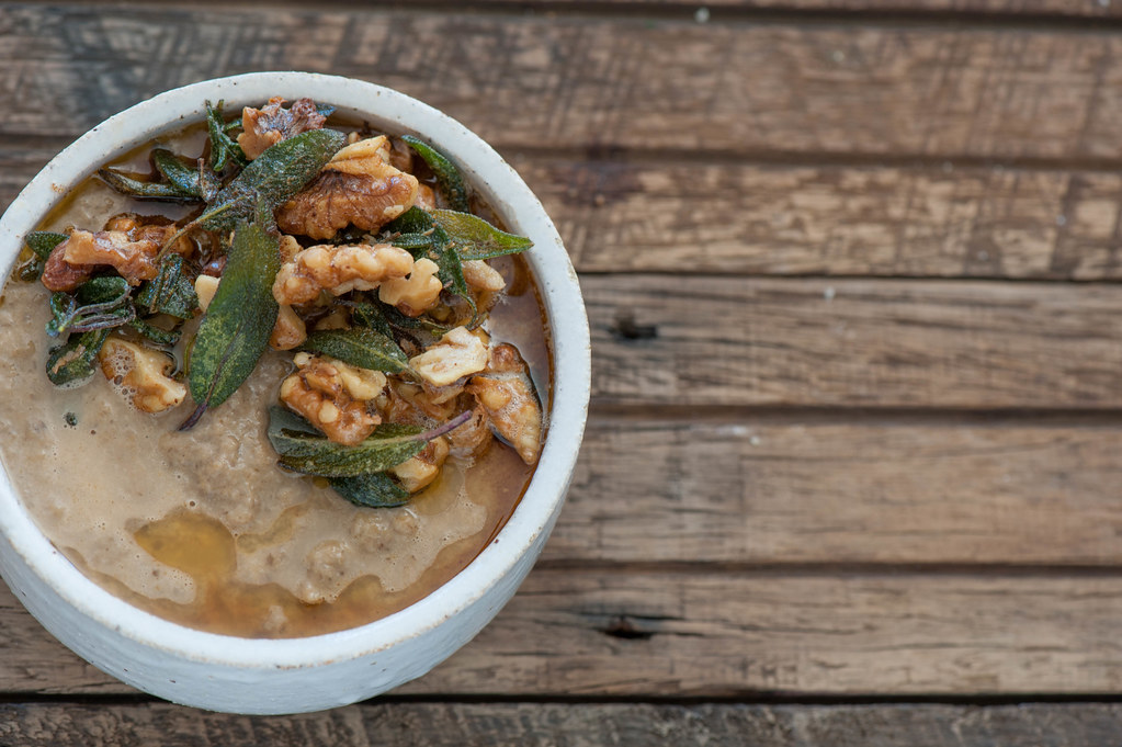 Mushroom Soup with Brown Butter Walnuts & Crispy Sage-2
