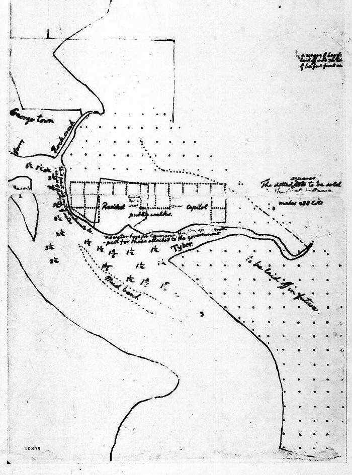 Thomas Jefferson's Pragmatic Design for the Federal City [Proposed Plan of Federal City], March 1791 Ink on paper Thomas Jefferson Papers, Manuscript Division Library of
