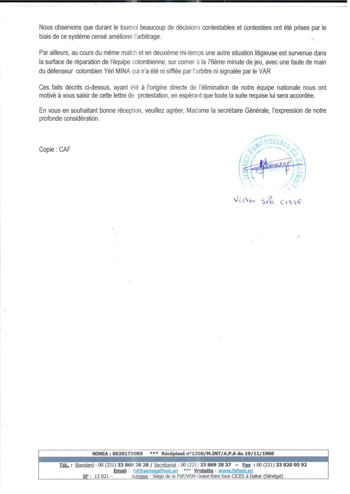 Lettre de Réclamation de la FSF à la FIFA (1)