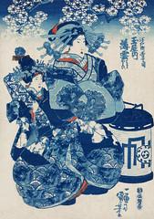 Tamaya uchi Usugumo by Utagawa Kuniyoshi (1753-1806), translated The Courtesan Hanao of Ogi-ya, a traditional Japanese ukiyo-e style illustration of a well-dressed courtesan woman with elaborate hair ornaments sitting with an attendant. Digitally enhanced
